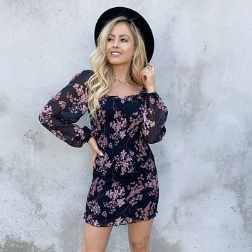 Midnight Pink Floral Ruched Bodycon Dress