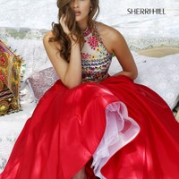 Sherri Hill 50080 Red A-Line Two Piece Ball Gown