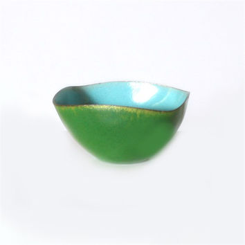 Blue and Green Copper Bowl Signed by Leon Statham