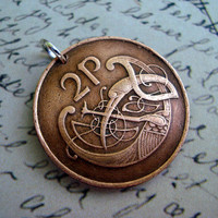 Coin Jewelry - CELTIC Stylized bird copper COIN NECKLACE, 2 pence, Irish harp, eire, viking, druid