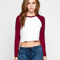 LILY WHITE Womens Crop Baseball Tee 247661320 | 90's Muse