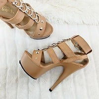"""Delight 658 Tan Cage Style Ring Details Platform Shoes Sandals 6"""" High Heels NY"""