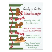 Holiday Gingerbread Cookie or Candy Exchange 5x7 Paper Invitation Card