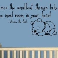 "Sometimes The Smallest Things In Your Heart Take Up The Most Room In Your Heart 14""x32"" Winnie The Pooh Sleeping Wall Art-Sticker Decals-Wall Sticker-Wall Decals-Wall Decor-Wall Decoration-Wall Quotes"