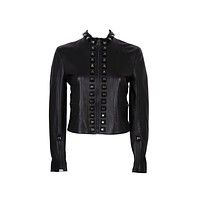 Fendi Womens Black Maxi Stud Leather Jacket