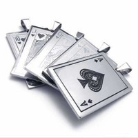 Casino Poker Playing Cards Stainless Steel Pendant Necklace