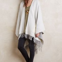 Tsumori Chisato Fringed Wool Poncho in Beige Size: One Size Sweaters