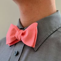 Men's Bow Tie in Coral -  wedding groomsmen ties custom self tie freestyle adjustable checked crosshatch pink melon