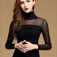 Long Sleeve, Sheer Turtle Neck Blouse