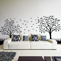 Vinyl Wall Decal Two Stylish Trees with Leafs, Branches and Birds / Nature Art Decor Home Sticker / Removable Mural + Free Random Decal Gift