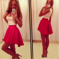 Feelingirl White and Red Scoop Neck Hypotenuse Dress Women Sexy Mini  Tank Dresses Party = 1696863428