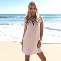 Life Is Good Jersey Dress In Mocha