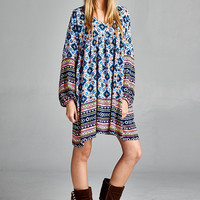 Inner Moon Child Boho Babydoll Dress (Blue)-Plus Size