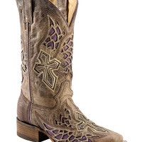 Corral Distressed Purple Side Wing & Cross Inlay Cowgirl Boots - Square Toe - Sheplers
