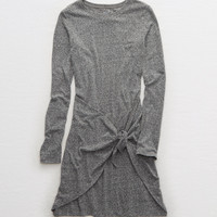 Aerie Knot Long Sleeve Dress, Dark Heather