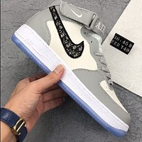 Dior x Nike Air Force 1 Mid White/Grey all-match casual sports shoes