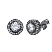 Sterling Silver Black Stud Earrings Round White Cubic Zirconia Micropave 10mm