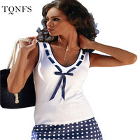 Free Shipping 2016 New Fashion Vintage Summer T Shirt Women Clothing Tops Sleeveless V-Neck With Bow T-shirt  White Clothes