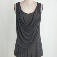 Minimal Long Tank top (2 thick straps) Draped in Delight Top in Charcoal