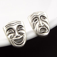 Theatre Mask Comedy and Tragedy Mismatched Stud Earrings Jewelry - Silver Plated, Silver Filled Posts