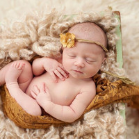 Gold flowers Newborn Tieback, Couture baby Headband, Newborn Girl Props, newborn photography props - vintage couture boutique