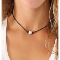 Leah Pearl Leather Necklace