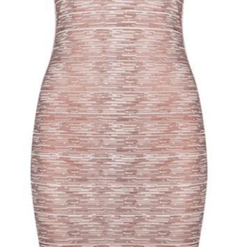 'Sabina' Metallic Bandage Dress - Rose