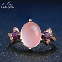 LAMOON 8x10mm 100% Natural Oval Pink Rose Quartz Ring 925 Sterling Silver Jewelry Rose Gold Romantic Wedding Band LMRI017