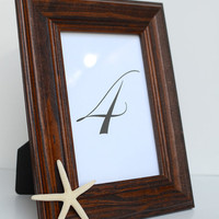"""Pencil Star Fish Dark Brown Solid Wood 4x6"""" Inch Picture Frame - Minimalist Chic Beach Wedding Table Number and Coastal Home Photo Decor"""
