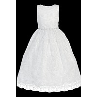 Girls Embroidered Tulle & Rhinestone Trim Communion Dress 5-14
