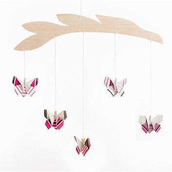 Striped Butterfly Origami Mobile