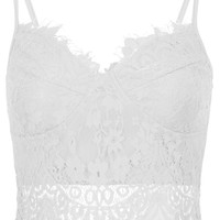 Lacie Padded Cropped Tank Top - White