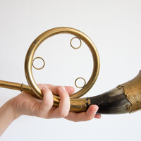 Vintage Brass Trumpet Horn, Cow Horn Trumpet, Cottage Home Decor,Signal Horn, Circus Fun, Rustic, Music, Gold, harvest, Birthday, ohtteam