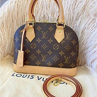 LV Alma BB Women's All-match Shell Bag + Card Case + Pendant Three-piece Set
