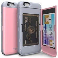 iPhone 6s Case, iPhone 6 Case, TORU [CX PRO] - [CARD SLOT] [ID Holder] [KICKSTAND] Protective Hidden Wallet Case with Mirror for iPhone 6 / iPhone 6s - Pastel Pink