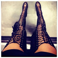 Gladiator Thigh High Boot heels w Lace up