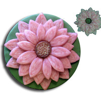 Pink 3D Glow Flower Pendant on Green EyeGloArts Glow in the Dark and Blacklight Jewelry #F7Dec2014
