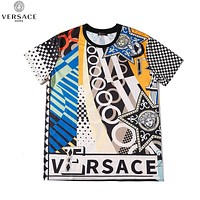 Versace New fashion human head letter plaid print couple top t-shirt