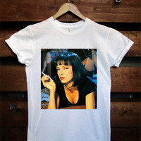 Uma Thurman Pulp Fiction Mia Wallace White Crew Neck T-shirt and Tank Top. Small to X-Large.