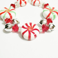 Christmas Jewelry - Candy Bracelet - Silver Jingle Bell Bracelet - Stocking Stuffer- Candy Jewels - Christmas Gift - Peppermint Jewelry