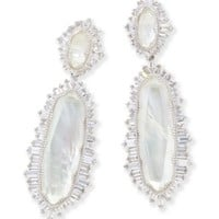 Katrina Silver Statement Earrings in Ivory Mother of Pearl