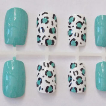 Teal and White Leopard or Cheetah Fake Nails - False, Artificial, Acrylic, Press-On