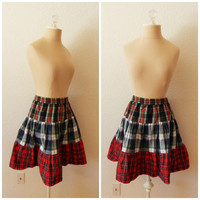 Vintage Mixed Flannel Pleated Cotton Fall Plaid Flair Mini Skirt Small