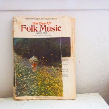 First omnibus of folk music, paperback, sheet music, old book, 1960s, hippie music, country music, guitar playing, old sheet music