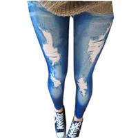 2015 Sexy Stretchy Jean Look Fashion Hole Denim Legging For Women Sexy  Leggins Jeans Slimming Jeggings Pencil Pants