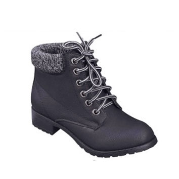 Must Have Black/Grey Peppered Trim Black Ankle Bootie Boots