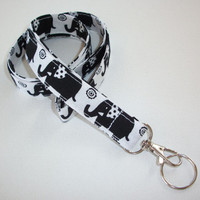 Fabric Lanyard / ID Holder with key ring - black elephants on white - lobster claw clasp and key ring
