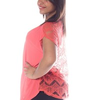 Plain or Pretty Plus Size Lace Back Zip Top - Coral from Beachwear at Lucky 21 Lucky 21