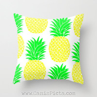 Pineapple Fruit 16x16 Graphic Decorative Cover Ananas Tropical Tropics Leaves Yellow Green Hot Pink Neon Orange Couch Art Decorative Spring