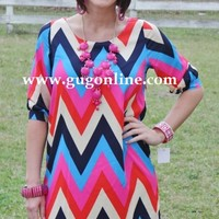 Never Had It So Good Pink and Red Chevron Dress